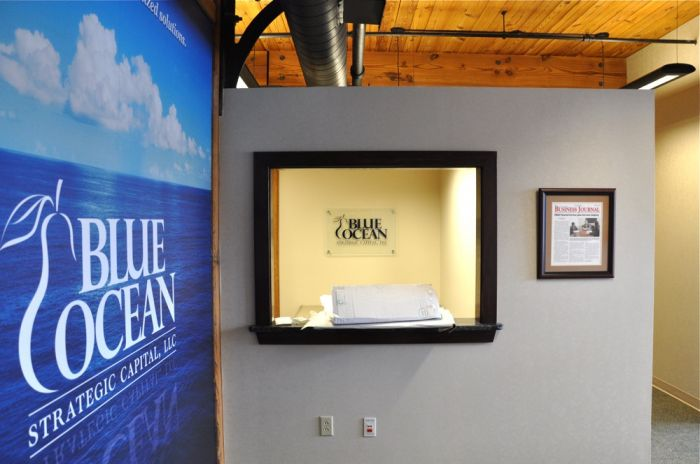 baba1af0d37f The lobby signage we produced for Blue Ocean spanned the breadth of what we  do here at Media Finishings. It started with a large 8 x9  wall mural  applied ...
